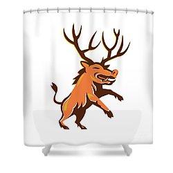 Razorback Antlers Prancing Retro Shower Curtain