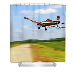 Razorback Flyby - Crop Duster - Ag Pilot Shower Curtain by Jason Politte