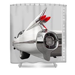 Reach For The Skies - 1959 Cadillac Tail Fins Black And White Shower Curtain by Gill Billington