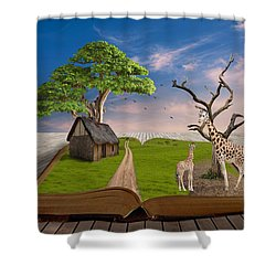 Shower Curtain featuring the mixed media Reach For Your Dreams Giraffe Art by Marvin Blaine