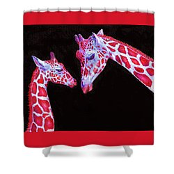 Read And Black Giraffes Shower Curtain by Jane Schnetlage