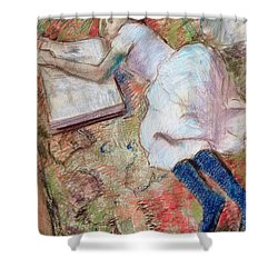 Reader Lying Down Shower Curtain by Edgar Degas
