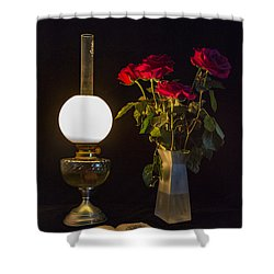 Shower Curtain featuring the photograph Reading By Oil Lamp by Brian Roscorla