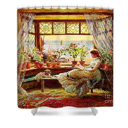 Shower Curtain featuring the painting Reading By The Window by Charles James Lewis