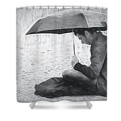 Reading In The Rain - Umbrella Shower Curtain by Nikolyn McDonald