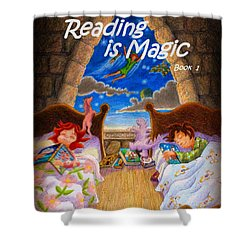 Shower Curtain featuring the painting Reading Is Magic by Matt Konar
