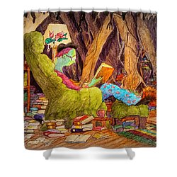 Shower Curtain featuring the painting Reading Is Magic Pg 1 by Matt Konar
