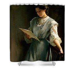 Reading The Letter  Shower Curtain by Thomas Benjamin Kennington