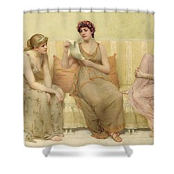 Reading The Story Of Oenone Shower Curtain by Francis Davis Millet