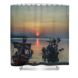 Ready For Night Fishing Shower Curtain