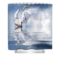 Ready For Take Off Shower Curtain by Cyndy Doty