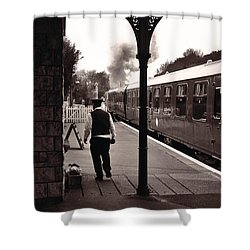 Shower Curtain featuring the photograph Ready To Depart Corfe Castle Station by Nop Briex
