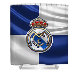 Real Madrid C F - 3 D Badge Over Flag Shower Curtain by Serge Averbukh