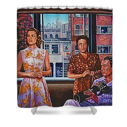 Shower Curtain featuring the painting Rear Window by Michael Frank