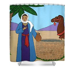 Shower Curtain featuring the painting Rebecca At The Well by Stephanie Moore