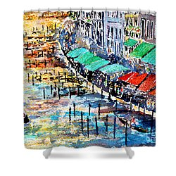 Shower Curtain featuring the painting Recalling Venice 02 by Alfred Motzer