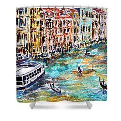 Shower Curtain featuring the painting Recalling Venice 01 by Alfred Motzer