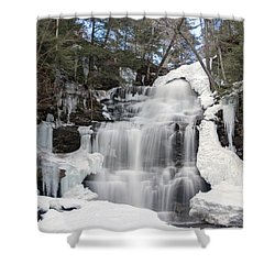 Shower Curtain featuring the photograph Receding Winter Ice At Ganoga Falls by Gene Walls