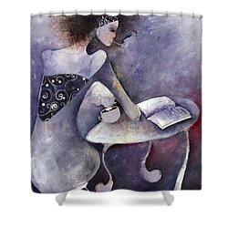 Shower Curtain featuring the painting Recipies Book by Maya Manolova
