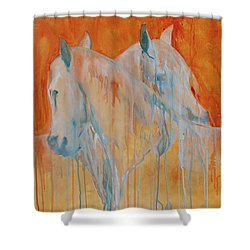 Shower Curtain featuring the painting Reciprocity by Jani Freimann