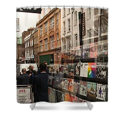 Records Store Windows Reflection  Shower Curtain
