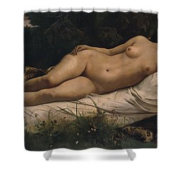 Recumbent Nymph Shower Curtain by Anselm Feuerbach