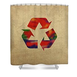 Recycle Symbol In Watercolor Shower Curtain