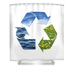 Recycling Sign With Images Of Nature Shower Curtain