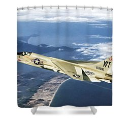 Red 1 Lead Shower Curtain by Peter Chilelli