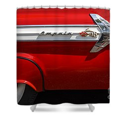 Red '61 Impala Shower Curtain by Dennis Hedberg