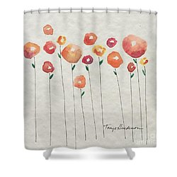 Red Abstract Floral Shower Curtain