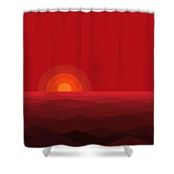 Red Abstract Sunset II Shower Curtain by Val Arie