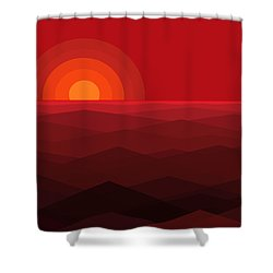 Red Abstract Sunset Shower Curtain by Val Arie