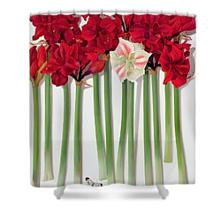 Red Amaryllis With Butterfly Shower Curtain by Lizzie Riches
