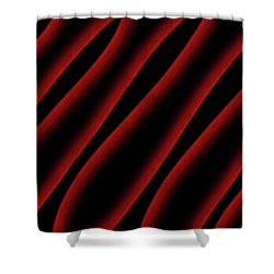Red And Black Abstract Waves Shower Curtain