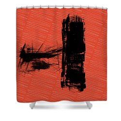 Red And Black Allover Abstract Shower Curtain by Kandy Hurley