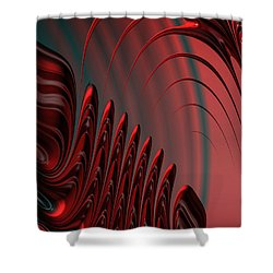 Red And Black Modern Fractal Design Shower Curtain
