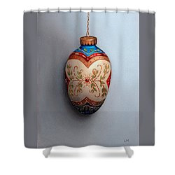 Red And Blue Filigree Egg Ornament Shower Curtain