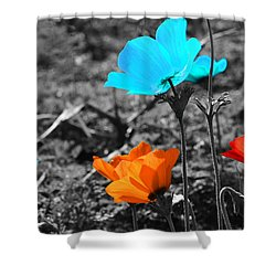 Red And Blue Flowers On Gray Background Shower Curtain