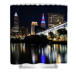 Shower Curtain featuring the photograph Red And Blue In Cleveland by Dale Kincaid