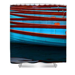 Red And Blue Paddle Boats Shower Curtain