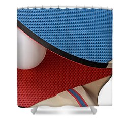 Red And Blue Ping Pong Paddles - Closeup Shower Curtain