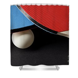 Red And Blue Ping Pong Paddles - Closeup On Black Shower Curtain