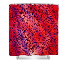Red And Blue Splatter Abstract Shower Curtain