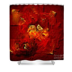 Shower Curtain featuring the painting Red And Gold by Alexa Szlavics