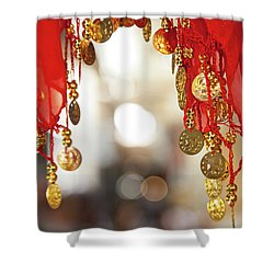 Red And Gold Entrance To Market Shower Curtain by Yoel Koskas