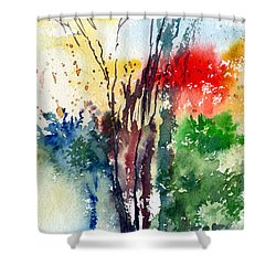 Red And Green Shower Curtain by Anil Nene