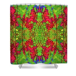Shower Curtain featuring the digital art Red And Green Floral Abstract by Linda Phelps