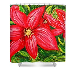 Red And Green Shower Curtain by J R Seymour