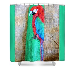 Red And Green Macaw  Shower Curtain by Ann Michelle Swadener